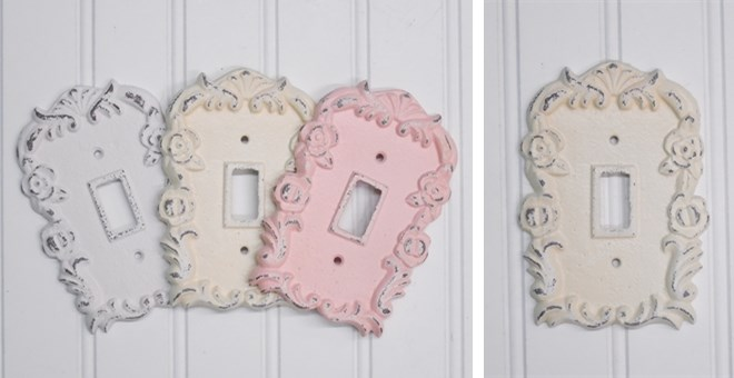 floral light switch plate shabby chic jane. Black Bedroom Furniture Sets. Home Design Ideas