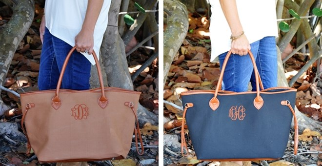 Monogrammed Tote Bags | 3 Colors