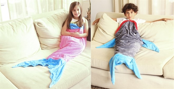 Mermaid & Shark Tail Cozy Blanket