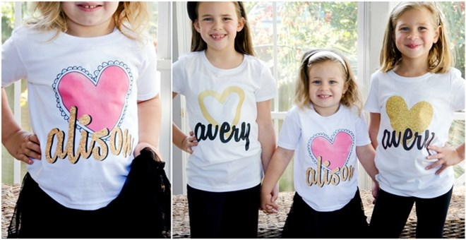 Personalized Glitter Heart Shirts