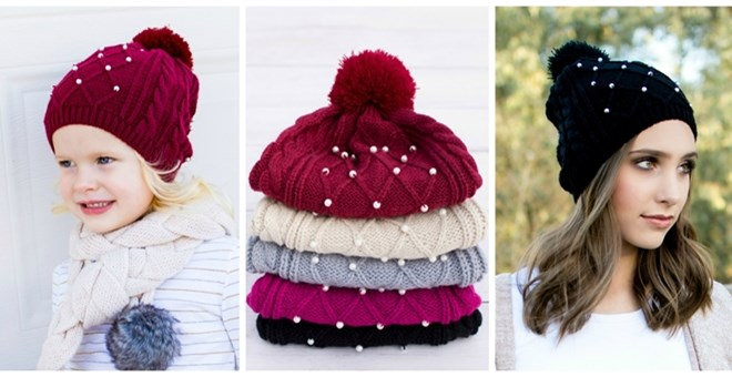 Pearl Pom Pom Beanies | Holiday Pricing!