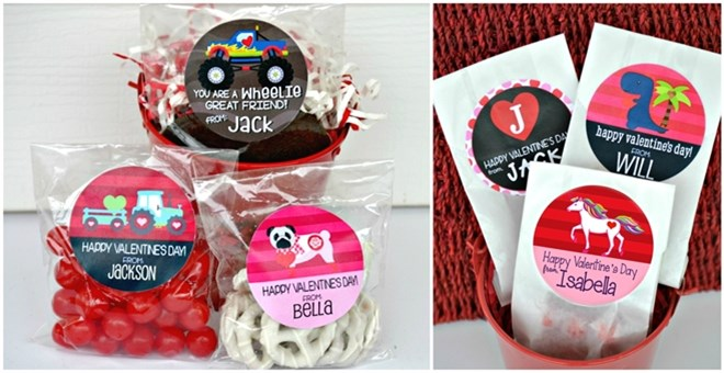 Personalized Valentine Stickers + Bags