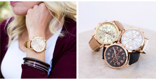 Large Leather Boyfriend Watch Blowout!