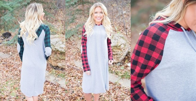 Hooded Lumberjack Dress | 2 Colors