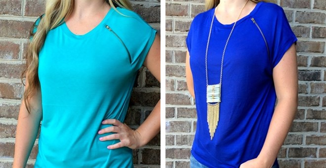 Bamboo Zipper Tee - 11 Colors!
