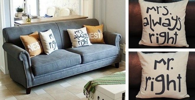 mr right and mrs always right pillow covers jane. Black Bedroom Furniture Sets. Home Design Ideas
