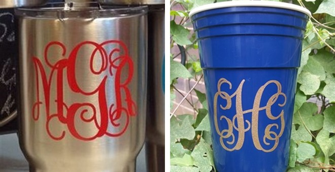 Glitter Monogram Decals