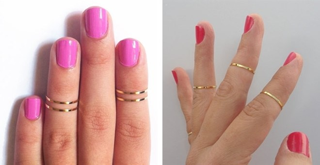 Set of 4 Silver or Gold Midi Rings