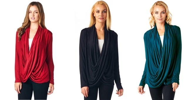 Solid Criss Cross Drape Cardigan