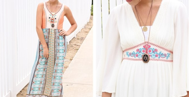 Lace Embroidered Maxi Dress- 2 Styles
