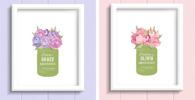 Personalized Watercolor Floral Print Jane