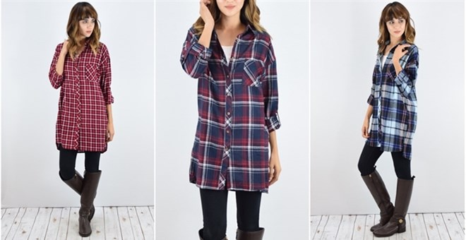 Cotton Plaid Shirt Tunic