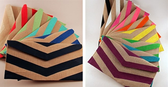 Flat Hand-painted Chevron Envelope Clutch
