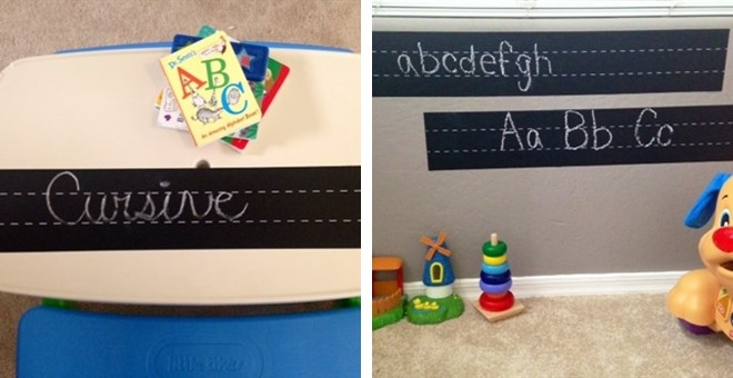 Set of TWO! Chalkboard Handwriting Vinyl Stickers + Chalk!