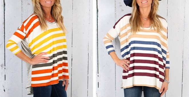 Bold Stripe High Low Tunic