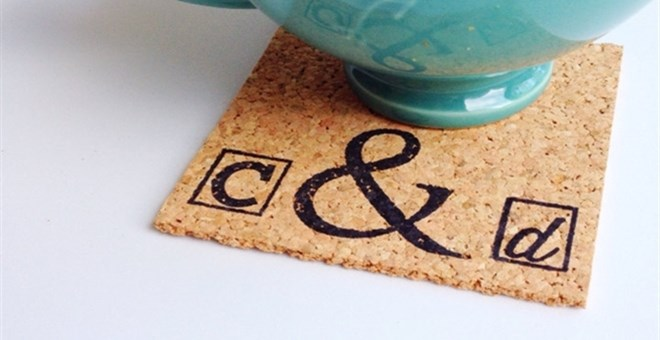 Monogram Ampersand Square Cork Coasters - Set of 4