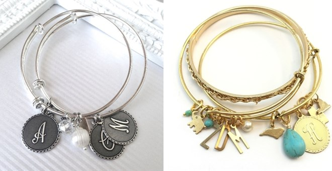 Initial Bangle | Gold or Silver | 3 Charms