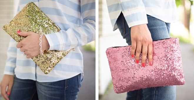 Large Sequin Glitter Clutch in 4 Colors!