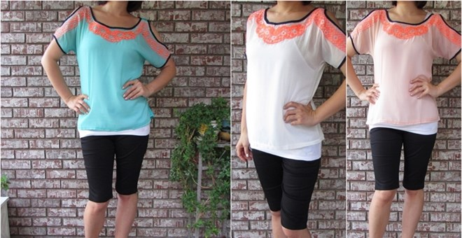 Crochet neon embroidered top