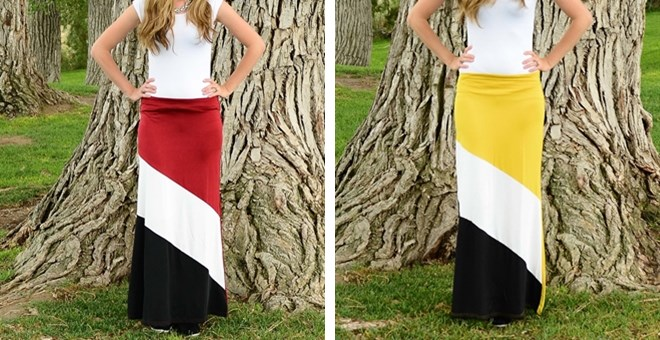 Colorblock maxi skirts