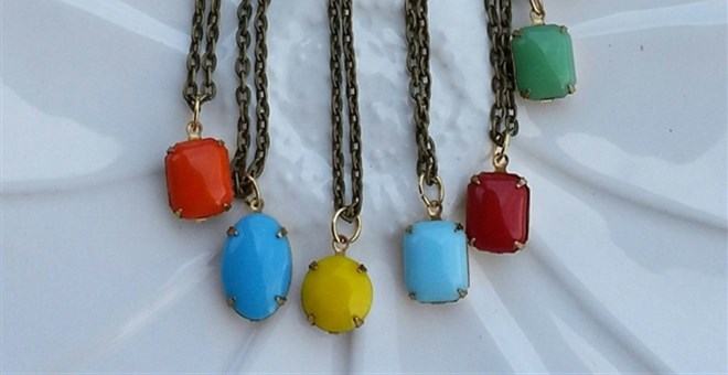 Glass Stone Pendant Necklaces Denise Pitterle Designs