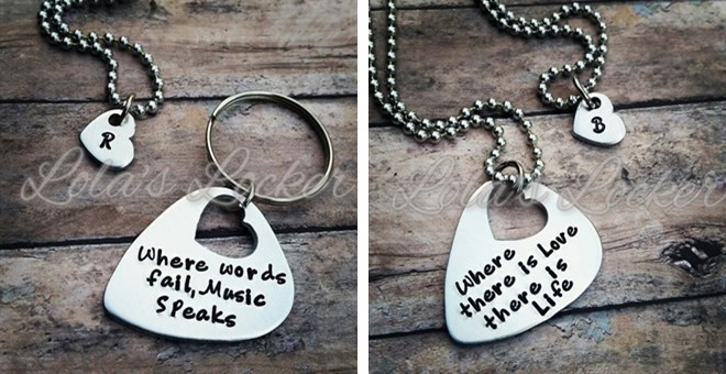 Guitar Pick and Heart Cutout Combo Necklace/KeyChain: Personalized with your own Quote!