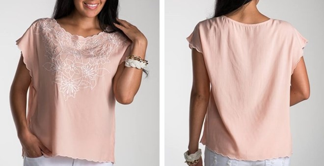 Summer Embroidered Peach Top