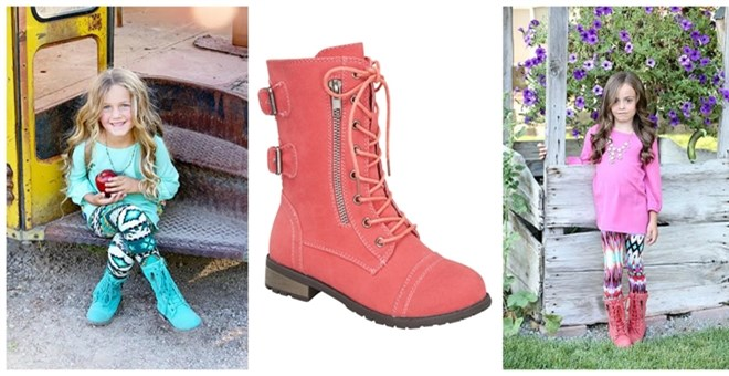 Kids Fall Colorful Combat Boots | Jane