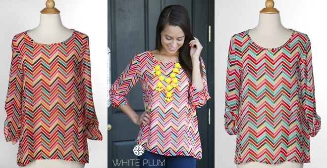 Color Burst Chevron Blouse! Made in USA! 2 Colors!