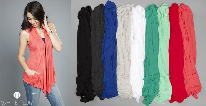 Sleeveless Cardigan! 10 Color Options!