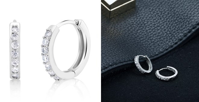 Silver CZ Huggie Earring | 18kt White Gold Plated