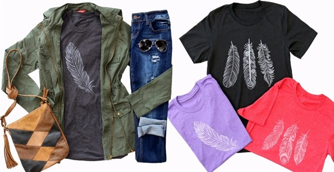 Boho Feather Tees | XS-XL | 8 Colors!