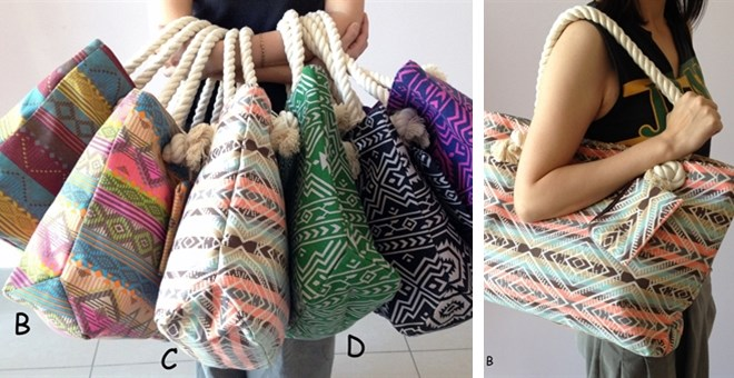 "Extra ""Large"" Aztec Prints Totes - 6 colors"