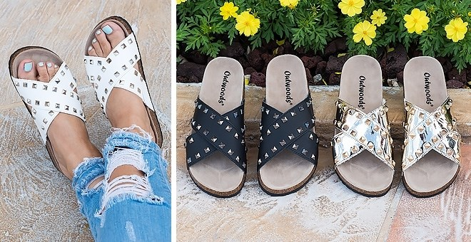 Studded Cross Over Strap Sandals