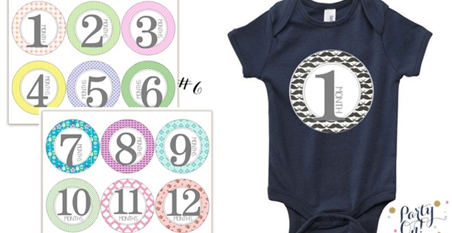 12 Month to Month Baby Stickers - 8 Designs!