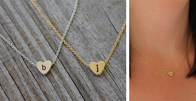 Tiny Hand-stamped Heart Necklace – Gold or Silver
