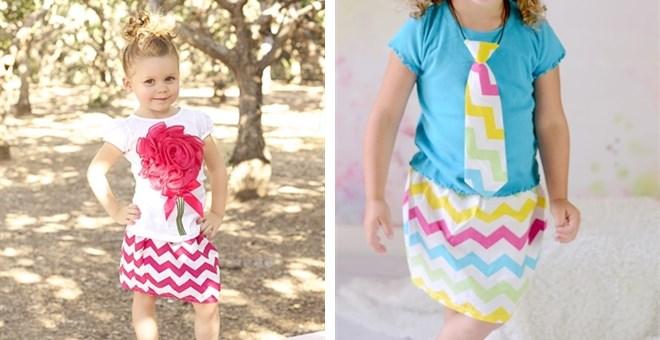 CLEARANCE Little Girl Chevron Skirts