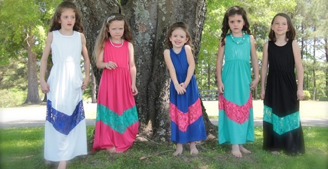 Children's Chevron Maxi Dress