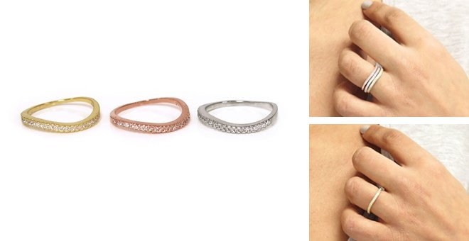 Solid Sterling Silver Pave Stackable Wave Ring