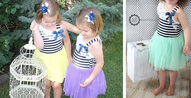 Nautical Tutu Dress + BONUS hair item!