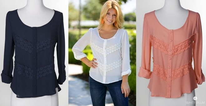 Dawn Embroidered Blouse! 3 Colors!