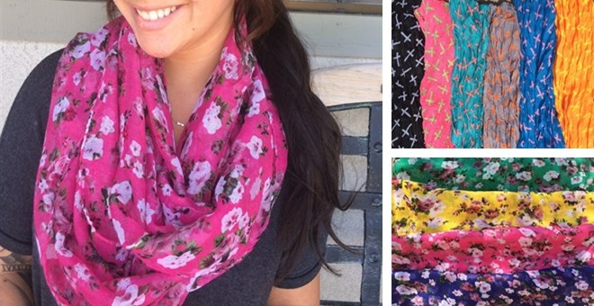 Cross Print & Floral Print Infinity Scarf Blowout