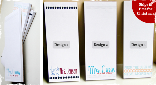 Set of Three Personalized Teacher Notepads