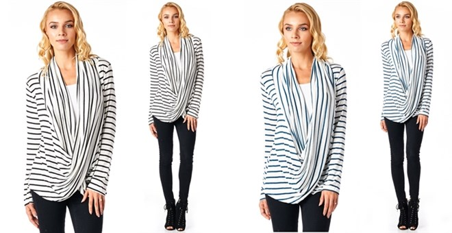 Made In USA  Striped Criss Cross Draped Cardigan