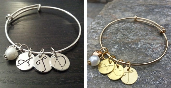 Hand Stamped Initial Bangle Bracelet…Silver & GOLD!!