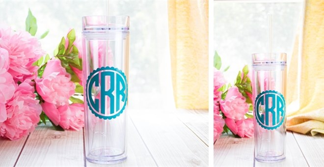 16oz Skinny Tumbler with Scalloped Monogram Design! Many colors to choose from!