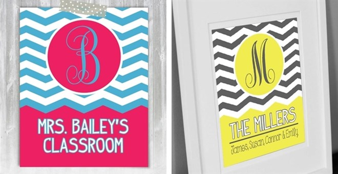 Chevron Monogram 8x10 Print – Pick Your Own Colors!