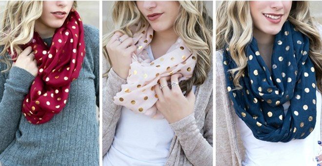 Gold Dot Infinity Scarves | 9 Colors