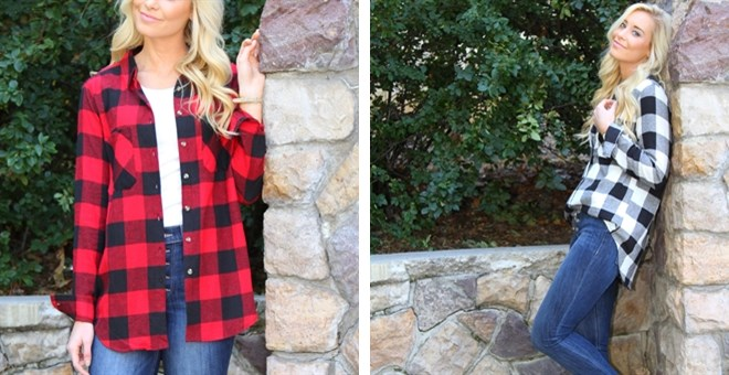 Flannel Plaid Boyfriend Shirt.