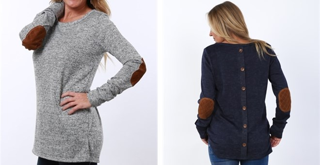 Back Button Sweater Elbow Patch